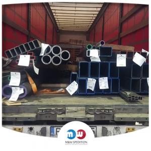Transport von Waren: Stahl- und Metallprodukte: Stahlkonstruktionen, Türbeschläge, Werkzeuge, Räder, Schubkarren, Ketten Rohren bis 24 Tonnen. M&W Spedition